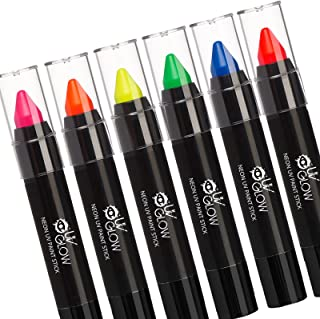 UV Glow - Neon UV Paint Stick for the Face & Body - Set of 6 Colours. Genuine and original UV Glow product - glows brightly under blacklights!