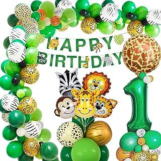 Djungel födelsedag dekoration 1 år, Acna födelsedagsdekoration pojkar 1 år, barn födelsedagsfest dekoration safari grattis...