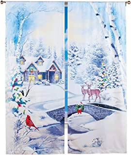 Winter Scene Window Drapes with Snow Covered Trees and Deer - Set of 2