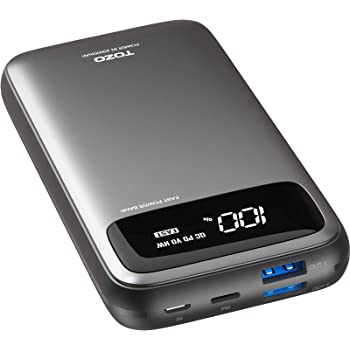TOZO PB2 PD+QC 3.0 Fast Charging Power Bank 20000mAh with Visible Digital Display Portable Charger 18W Battery Pack with Dual Input Ports, High Charging Speed for iPhone, Samsung and More. Gray