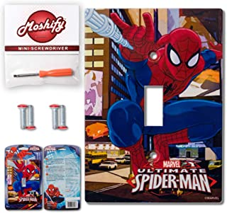 AmerTac Spiderman Wall Plate Light Switch Cover - Bundle with Moshify Flathead Screw Driver (1 Pack)