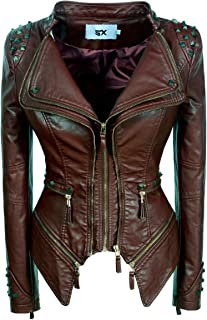 SX Women's Fashion Studded Perfectly Shaping Faux Leather Biker Jacket