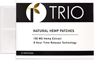 Hemp Oil Topical Pain Patch - Zero THC - Ideal for Pain Relief, Muscle Pain, Stress, Anxiety, Better Sleep - 2 Patches x 100mg Each (200mg Total)