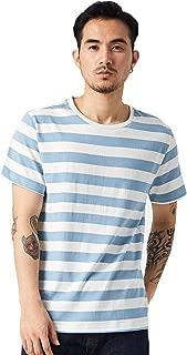 Zbrandy Blue and White Striped Shirt Men Stripe T Shirt Basic Cotton Top Tee