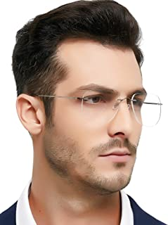 Titanium Men Rectangular Rimeless Eyewear Frames...