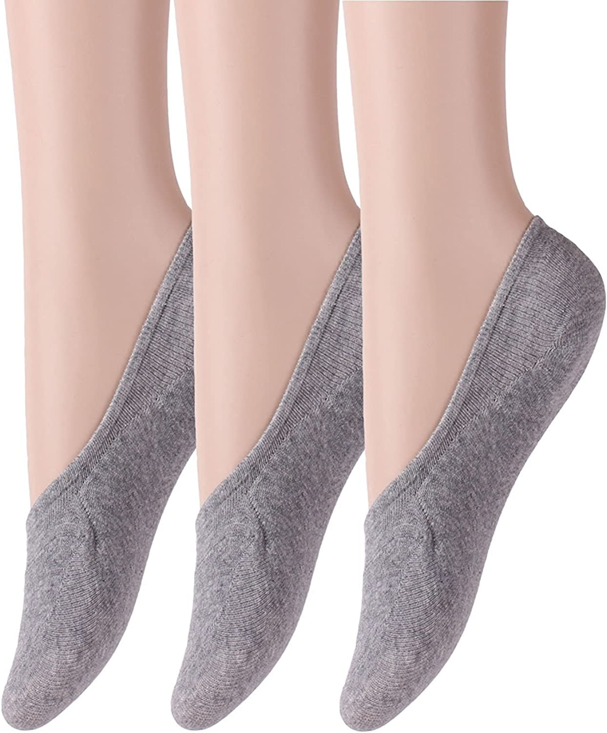 Cosynook Women's 3 or 6 pack Thin Casual No Show Socks Non Slip Flat Boat Line