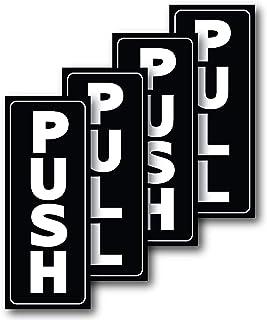 """Push Pull Door Stickers for Glass Door 2"""" x 5"""" Self Adhesive Vinyl Sign Decal"""
