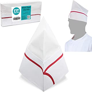 [50 Pack] White Paper Chef Hat with Red Stripe - Disposable Soda Jerk Cap for Food Server, Retro Diner Theme, Baking and Party Favors, For Kids and Adults