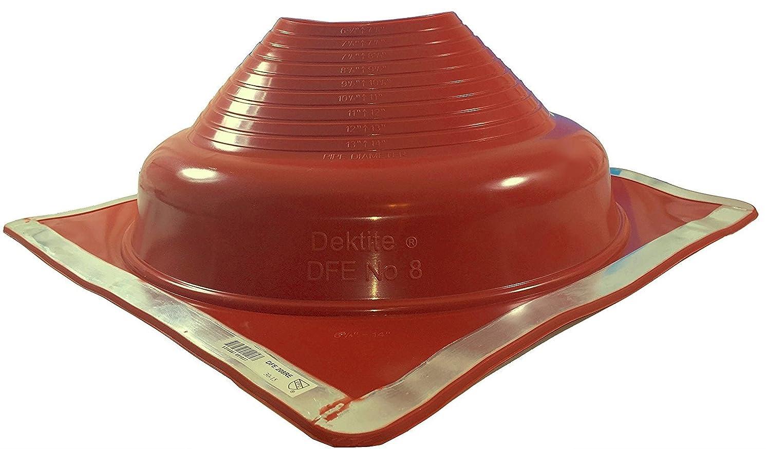 Dektite Premium #8 Red Silicone Metal Roof Pipe Flashing, High Temp, Square Base, Pipe OD 6-3/4