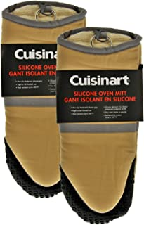 Cuisinart Cotton Puppet Oven Mitt with Silicone Grip, Beige- 2pk