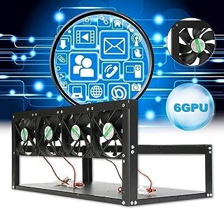 Li Bai 6 GPU Mining Rig Steel Stackable Case 4 Fans Open Air Frame ETH/ZEC/Bitcoin Mining Case Computer Frame Rig Miner Kit Sale