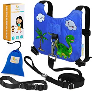 HappyVk Safety Harness for Kids-Anti Lost Walking Toddler Baby Leash-with Free Drawstring Storage Bag and Hands Free Belt for Parents-Cute Dinosaur Embroidery-Suitable for 1-4 Years Old Boys, Girls