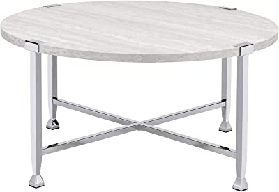 "Q-Max 18"" Tall Contemporary Style Coffee Table Oak & Chrome, white oak"