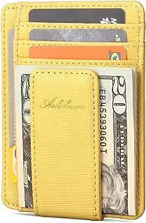 AslabCrew Slim Minimalist Front Pocket RFID Blocking Genuine Leather Magnetic Clip Wallets for Men Women