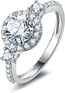 Aienid 925 Sterling Silver Wedding Rings And Bands for Women Customized Rings Free Engraving Ring Cubic Zirconia