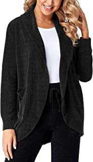 SEVEGO Women's Thermal Cardigan Sweater with Pockets Long Sleeve Open Front Lounge Coat Coverup Chenille Outwear for Winter