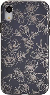 Velvet Caviar Rose Gold Chrome Black Floral iPhone XR Case - Premium Protective Cover - Cute Flower Phone Cases for Girls & Women [Drop Test Certified]