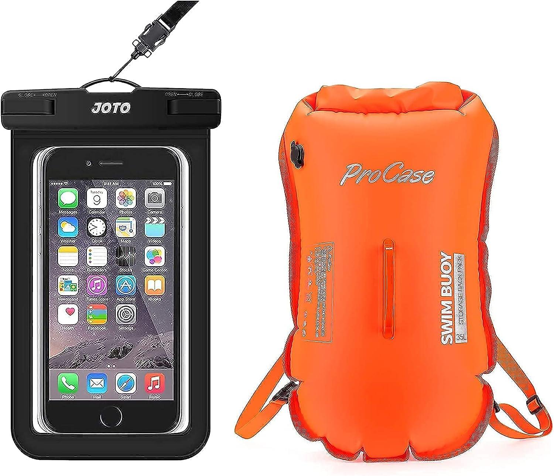 JOTO Universal Waterproof Pouch Cellphone Dry Bag Case Bundle with 35L Waterproof Swim Buoy Backpack