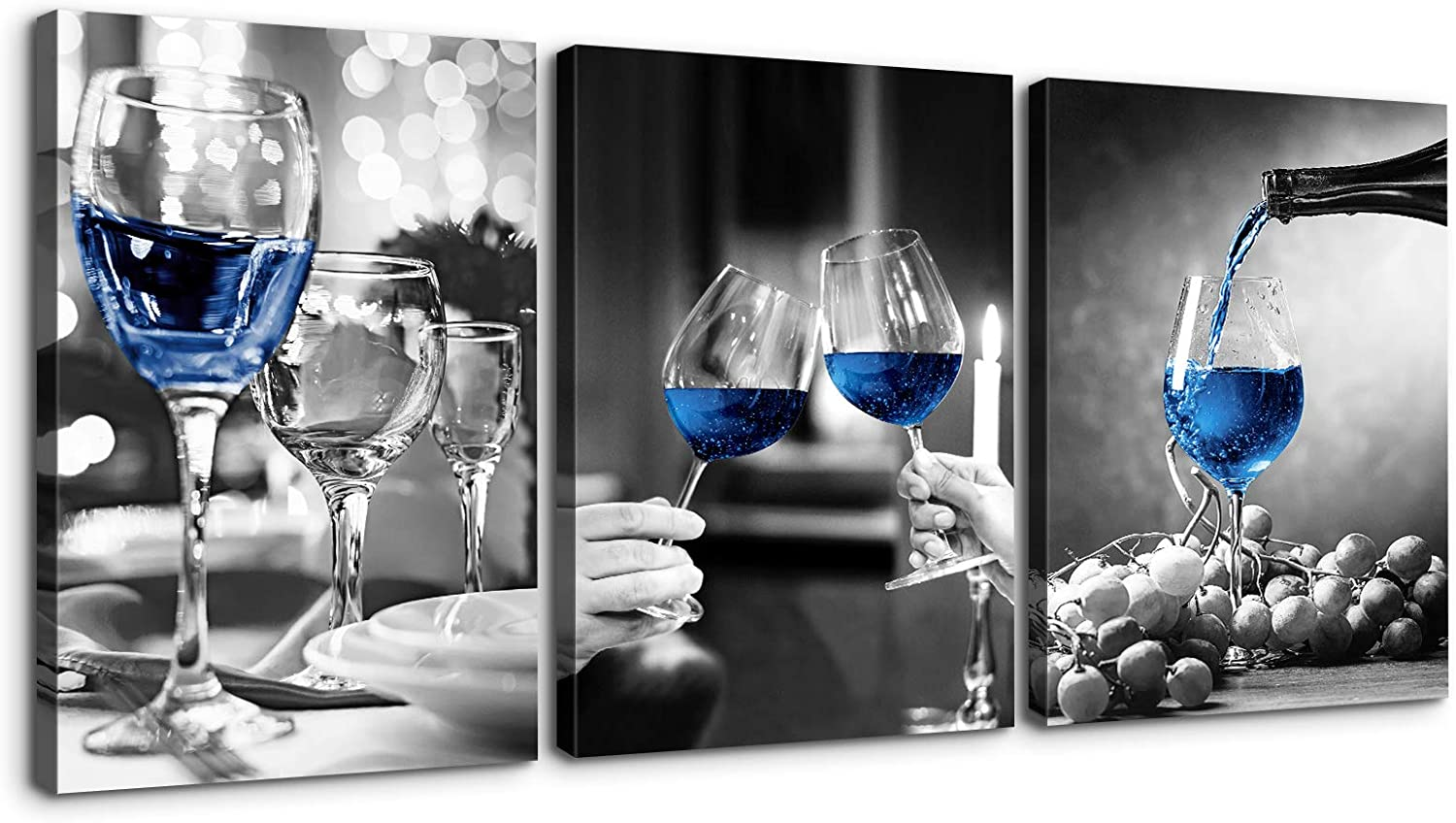Denozer - 3 Panels NEW before selling Canvas Wall Art Black Wine and Gla White Blue Baltimore Mall