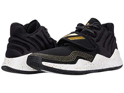 adidas Kids Deep Threat Basketball (Big Kid) (Core Black/Footwear White/Gold Metallic) Kids Shoes