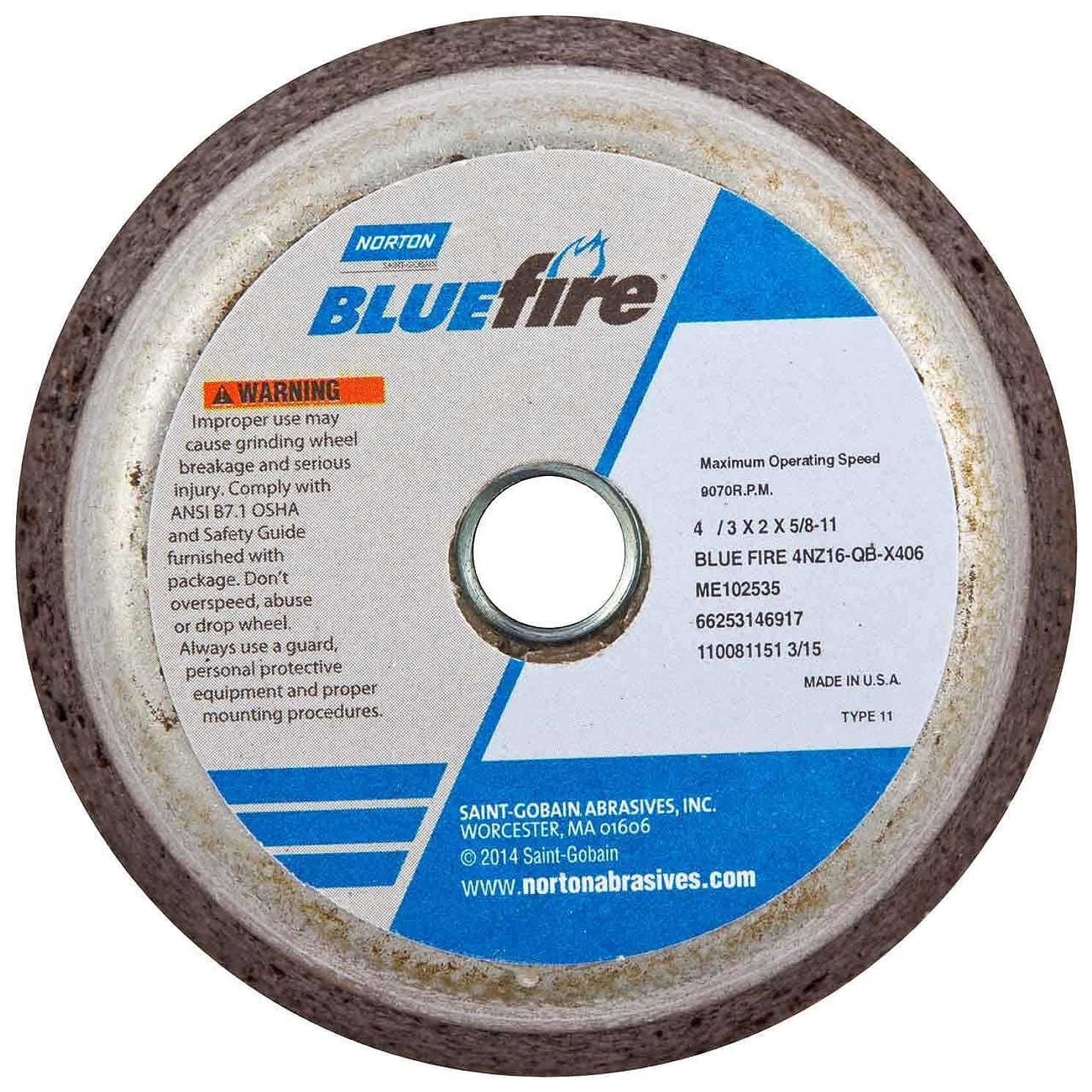 Norton 66253146917 4x2x5/8 in. BlueFire Snagging Wheels, Zir. Alum, Type 11, 16 Grit, 10 pack