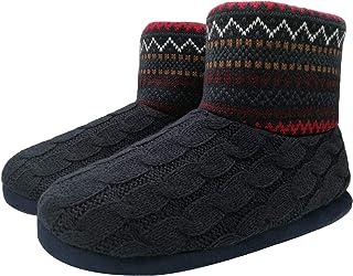 KuaiLu Mens Slippers Knitted Wool-Like Plush Fleece Lined Slipper Boots Winter Warm Cozy Non-Slip Rubber Sole House Slippers