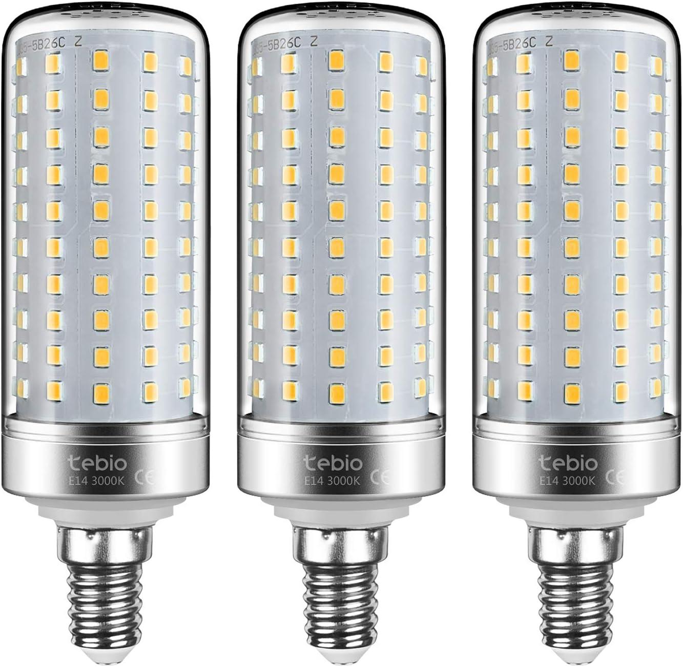 Tebio LED Plata Maíz Bombillas 25W E14 3000K Blanco Cálido LED Candelabros bombillas, 200W Bombilla Incandescente Equivalente, 2500LM, LED vela Bombillas No regulables, 3 Packs