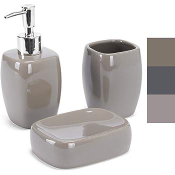 schwarz-wei/ß WENKO Bad Zubeh/ör SetBiColor Seifenspender 3 tlg Zahnputzbecher WC-Garnitur