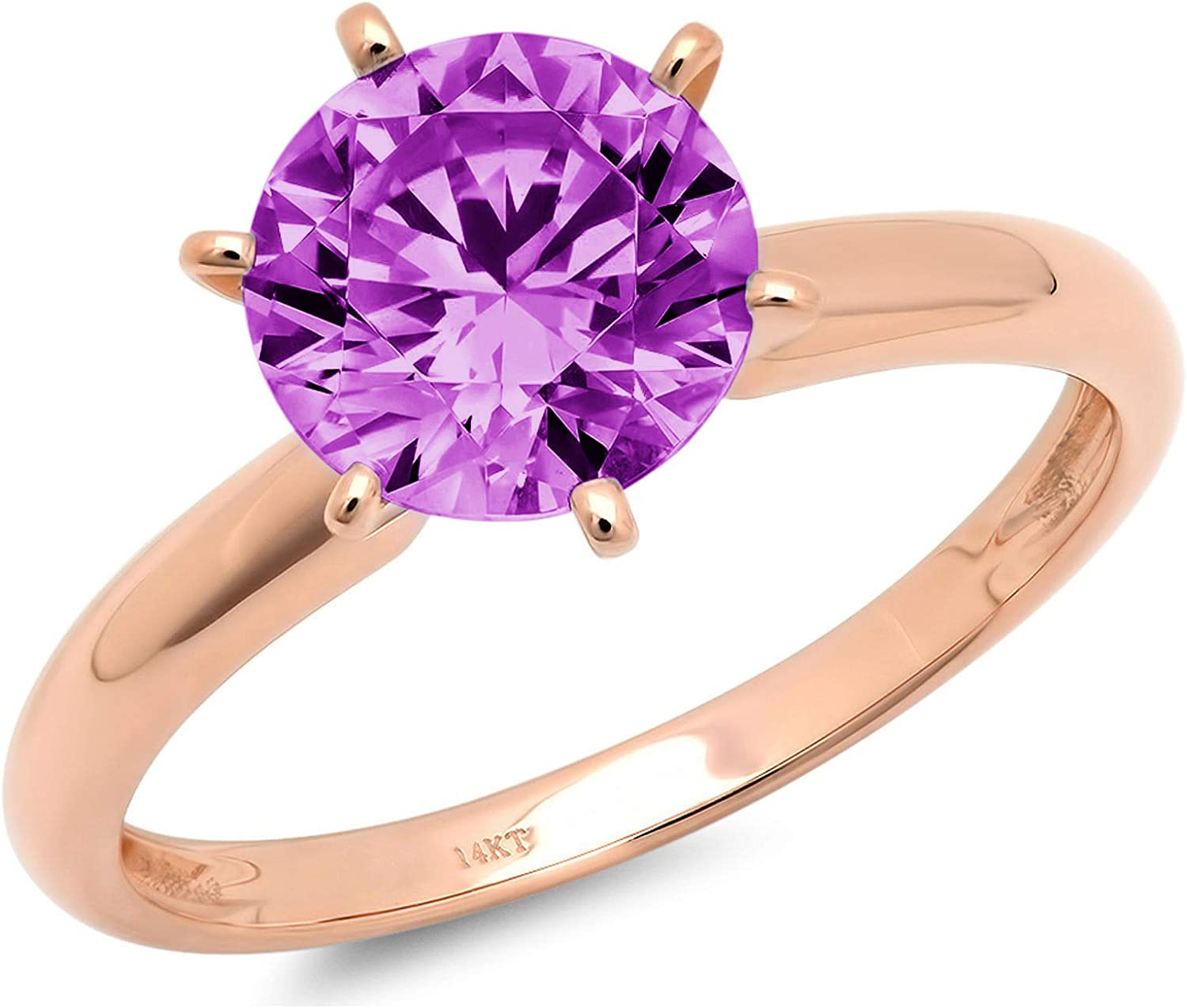 0.55 ct Brilliant Round Cut Solitaire Flawless Genuine Simulated Purple Alexandrite CZ 6-Prong Stunning Classic Statement Designer Ring in Solid 14k rose Gold for Women
