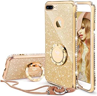 Cute iPhone 8 Plus Case, Cute iPhone 7 Plus Case, Glitter Bling Diamond Rhinestone Bumper with Ring Grip Kickstand Protective Thin Girly Gold iPhone 8 Plus/ 7 Plus Case for Women Girl - Gold