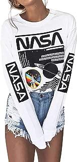 Women Long Sleeve Crew Neck White NASA Letter Print Shirt Tops Blouse Sweatshirt