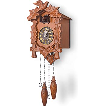 Birds Leaves Pine Cone Decorated Antique Hanging Cuckoo Clock ...