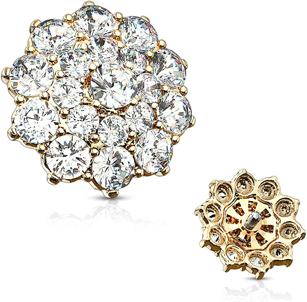 MoBody 14G Paved CZ Double Tier Anchor Quantity limited Dermal Round Surgi NEW before selling Flower