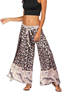 Women's Ethnic Print Tie Waist High Split Boho Wide Leg Flowy Pants