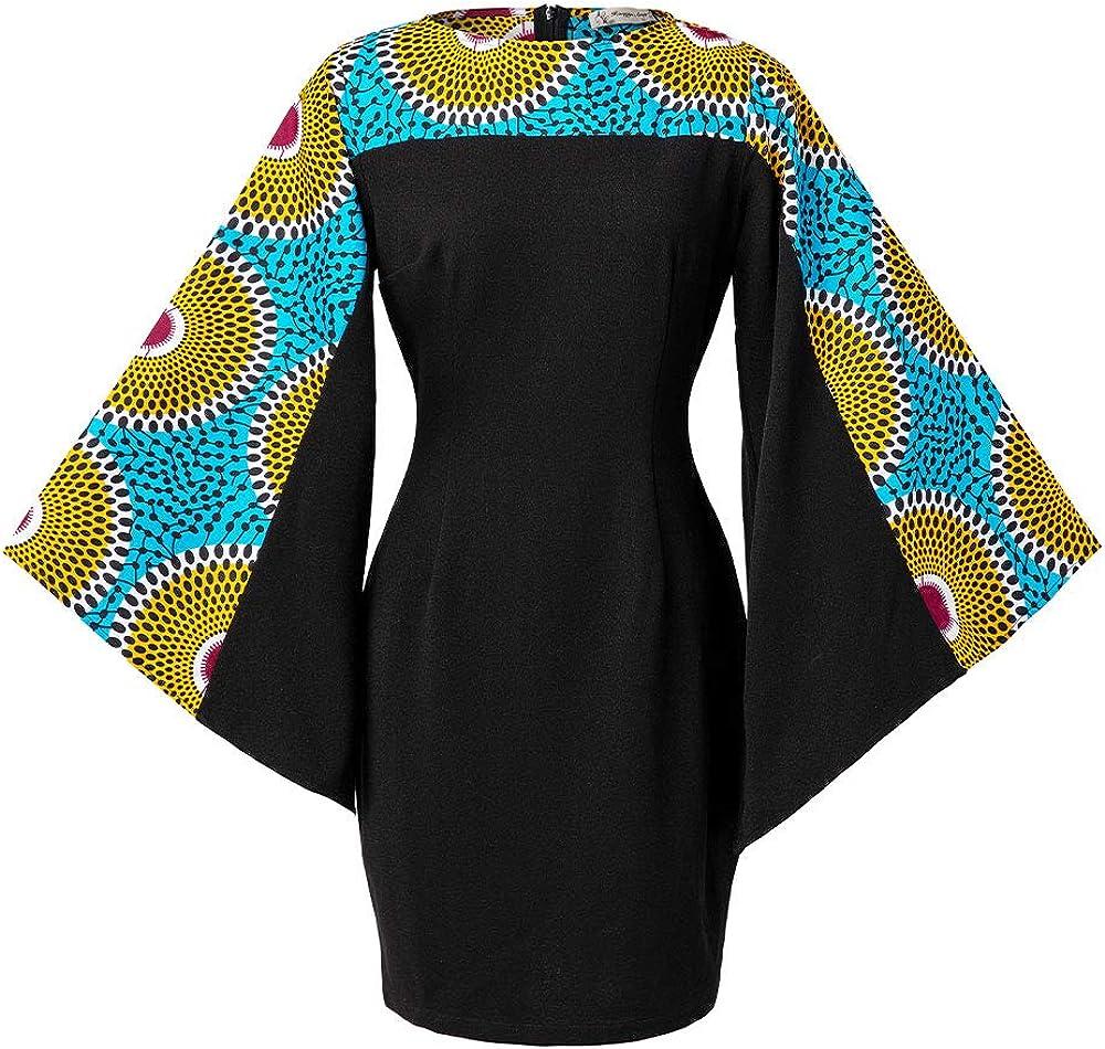HongyuAmy Women's African Floral Print Dresses Bell Sleeve Ankara Dashiki Midi Party Dress
