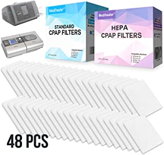 CPAP Filters 48 Packs - Include 24 HEPA Filters & 24 Premium Disposable Fine CPAP Filter for ResMed AirSense 10 - AirCurve 10- S9-AirStart-Series Machines - Medihealer Replacement Filters Supply