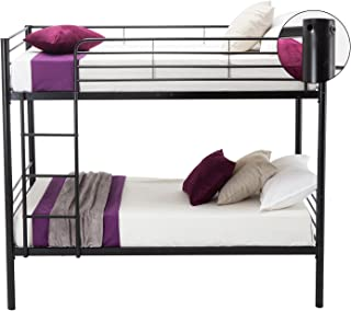 Leadzm Twin Over Twin Metal Bunk Bed with Heavy Duty Frame, Ladder & Safety Rails for Kids Teens Adults, Bedroom Dorm, Quick to Assemble, Black