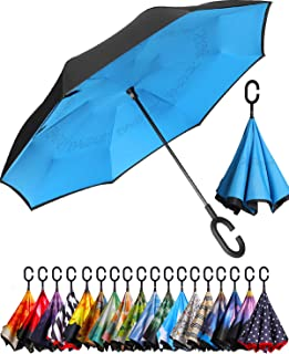BAGAIL Double Layer Inverted Umbrellas Reverse Folding Umbrella Windproof UV Protection Big Straight Umbrella for Car Rain...