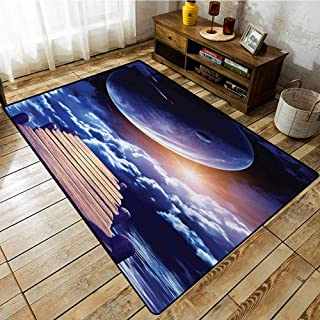 Collection Area Rug,Outer Space,Watching A Meteor Rain from A Wooden Dock Under The Sunlight Image,Anti-Slip Doormat Footpad Machine Washable,3'3