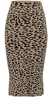 WITKEY1 Leopard Print Knitted Women midi Skirt High Waist Autumn Winter Sweater Skirt Bottom Skirt