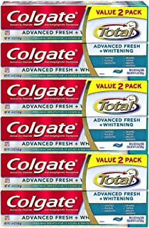 Colgate Total Advanced Fresh + Whitening Toothpaste, 5.8 oz. (Pack of 6)