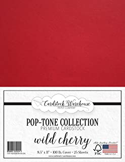 Wild Cherry RED Cardstock Paper - 8.5 x 11 inch 100 lb. Heavyweight Cover -25 Sheets from Cardstock Warehouse
