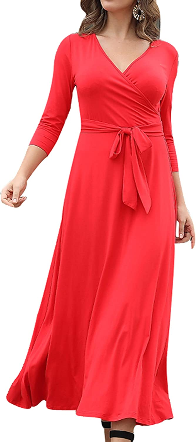 Aphratti Womens Faux Wrap In a popularity Maxi Large special price !! Dress Sleeves with Fla Fit Floral