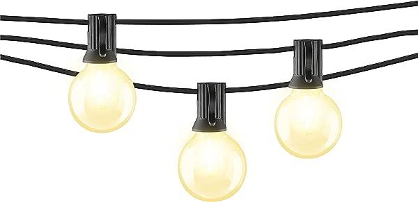 Mr Beams 1W G40 Globe Bulb LED Weatherproof Indoor Outdoor String Lights 50 Feet Black