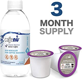 Cleaning and Descaling Kit Compatible with Keurig 1.0 & 2.0 K Cup Coffee Makers | 3 Cleaner Pods & 1 Bottle of Descaler Solution | Removes Limescale & Cleans Pod Area | Food Safe & Eco Friendly