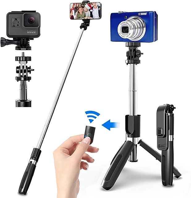 SYOSIN Palo Selfie Trípode con Control Remoto Bluetooth 4 en 1 Monópode Extensible Selfie Stick Bolsillo Inalámbrico 360° Rotación para GoPro/Mini Cámara iPhone Android Samsung Huawei y etc.