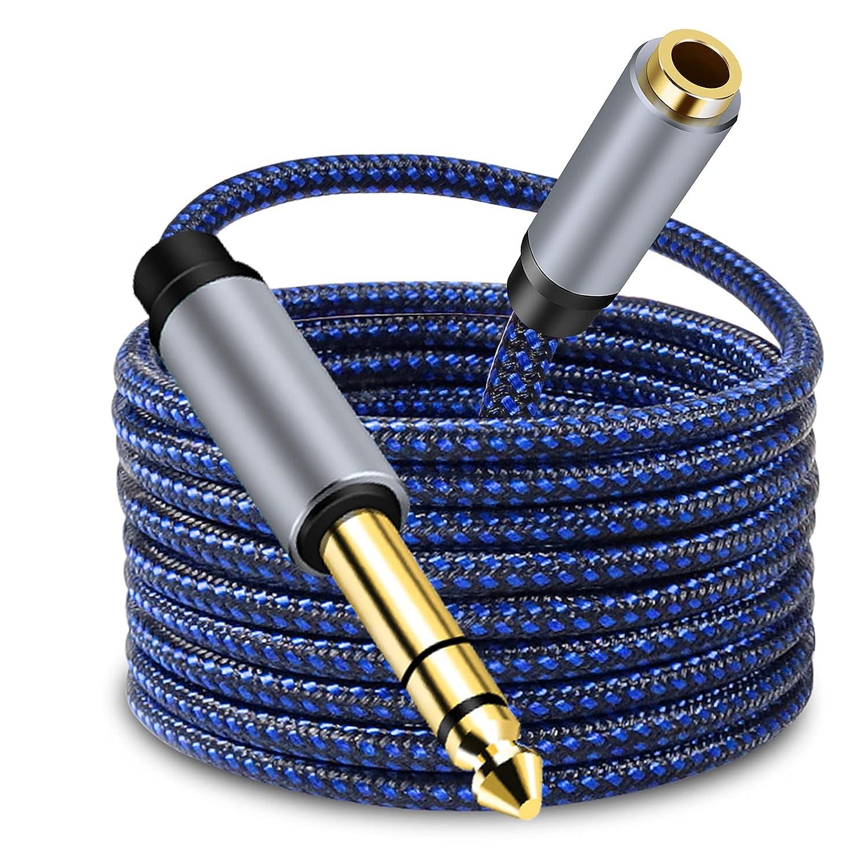 LSYTASG Cable Jack 6.35 Macho a 3.5 Hembra, Cable Audio HiFi Estéreo de TRS 1/4 a 1/8, Adaptador Jack 3.5mm a 6.35mm para Guitarra, Amplificador, Altavoz, Mixer, Electronic Piano, MP3, PC, TV 5M
