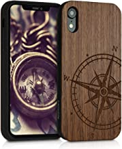 kwmobile Wooden Case Compatible with Apple iPhone XR - Hard Case with TPU Bumper - Navigational Compass Dark Brown, Walnut