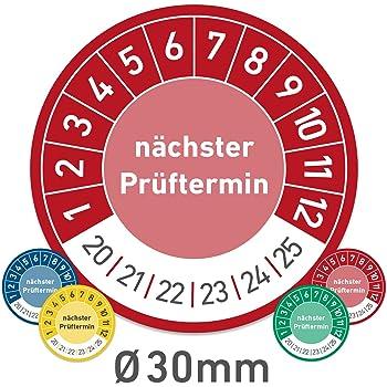 60 St/ück Pr/üfplaketten Pr/üfetiketten UVV /Ø 20mm oder 30mm Plaketten 20 mm Durchmesser, blau