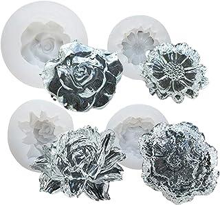 【Ever garden】 花 4個セット レジン バラ シリコンモールド ネックレス アクセサリー パーツ 作成 UVレジン エポキシ樹脂 樹脂粘土 型 抜き型 キット 道具